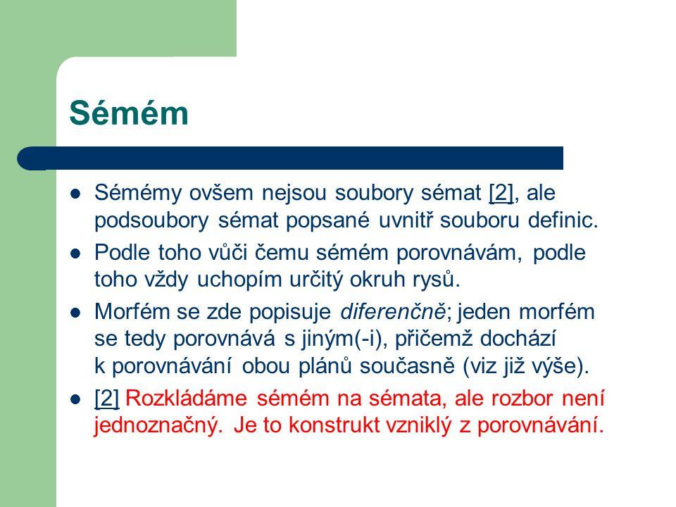 Sémém Sémémy ovšem nejsou soubory sémat [2], ale podsoubory sémat popsané uvnitř souboru definic.